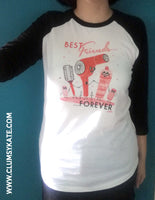 Vintage Hair Best Friends Forever Baseball Tee by Clumsy Kate