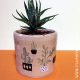 cactus and succulent illustrated Ceramic Plant Pot with Speckle Glaze by Clumsy Kate