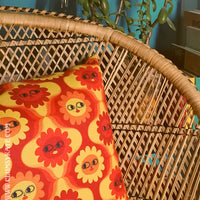 Maybe Daisy Psychadelic 70s style yellow and orange Cushion Pillow in Faux Suede by Clumsy Kate