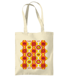 Maybe Daisy Psychadelic Print Shopper Tote Bag in Orange and Black by Clumsy Kate
