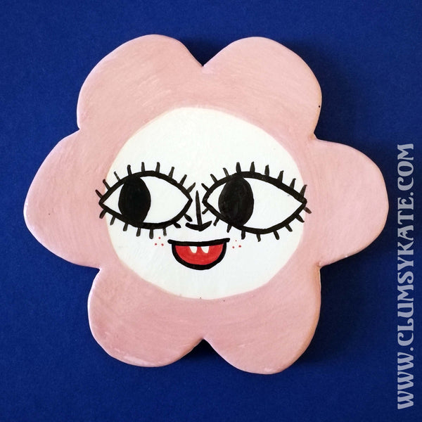 60s Style Pink Daisy Face Ceramic Coaster Handmade by Clumsy Kate