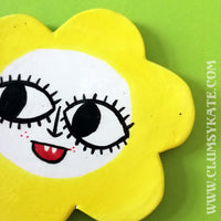 60s Style Yellow Daisy Face Ceramic Coaster Handmade by Clumsy Kate
