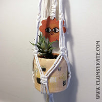 Daisy Ceramic 70s style Macrame Pot Hanger by Clumsy Kate