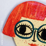 Red Head Bob Girl Ceramic Coaster Handmade by Clumsy Kate