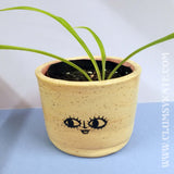 Big Eyed Face Ceramic Plant Pot with Speckle Glaze by Clumsy Kate