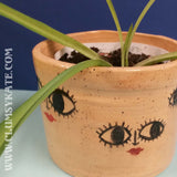 Big Eyed Faces Ceramic Plant Pot with Speckle Glaze by Clumsy Kate