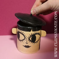 Beatnik Goth Girl Beret Pot in Monochrome by Clumsy Kate