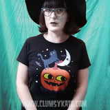 Retro Inspired Halloween Relaxed Fit Tee Shirt Size 6 to 22 in Black by Clumsy Kate
