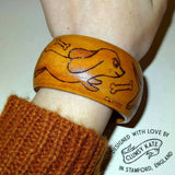 50s Style Sausage Dog Bracelet Bangle in Wood by Clumsy