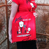 Pin Up Vintage Make Up Artist themed Shopper Tote Bag in red by Clumsy Kate