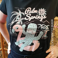 Sale! Palm Springs Cactus and Flamingo Pool Float Mid Century Modern Vintage Style Holiday Vacation California Tee by Clumsy