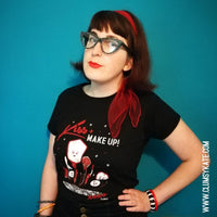 Sale! Pin Up Make Up Artist themed Vintage Retro 50s Red Lipstick Tee Shirt by Clumsy Kate