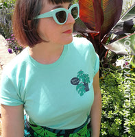 Sale! Let's Grow Plant Lover Mid Century Monstera Cheese Plant Unisex Tee in Mint by Clumsy