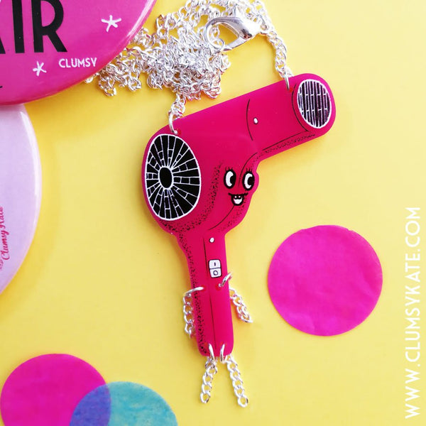 Sale! Retro Hairdryer Pink Acrylic Perspex Necklace Hairdresser Vintage style by Clumsy Kate