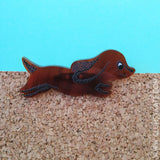 Sausage Dog Vintage 1950s Style Brown Tortoiseshell Perspex Acrylic Brooch by Clumsy Kate