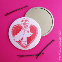 Big Hair Is Happy Hair Retro Pink Poodle Compact Mirror in Pink and Red by Clumsy Kate