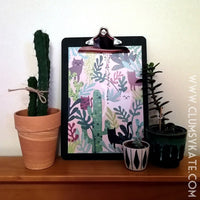 Cats and Cacti Pot Plants and monstera leaves print in Green and Pink by Clumsy Kate