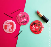 Red Lipstick Kiss and Make Up Retro Style Compact Mirror in Red by Clumsy Kate