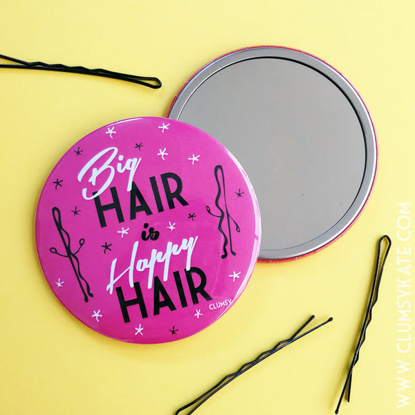 Big Hair Is Happy Hair Retro Pink Compact Mirror with Kirby Grip characters by Clumsy Kate