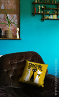 Beatnik Cats in a mid century style Mustard yellow Cushion Pillow in Faux Suede by Clumsy Kate