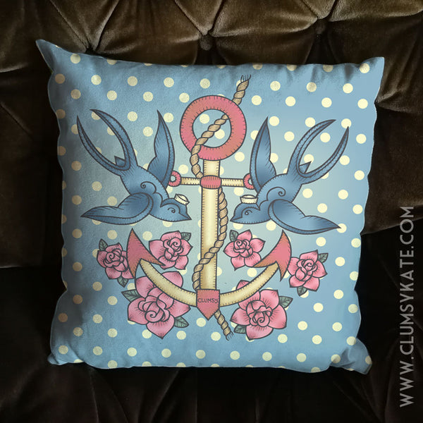 Sailor swallow tattoo Cushion Pillow in blue and pink polka dot Faux Suede by Clumsy Kate