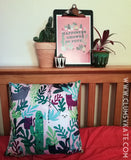 Happiness grows in pots house plants and cat and dog print in Pink by Clumsy Kate