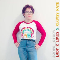 Badass Babe Vintage Rainbow Feminist Girl Boss Baseball Tee Shirt by Clumsy Kate x Lady K Loves