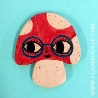 60s Style Mushroom Face Ceramic Coaster Handmade by Clumsy Kate