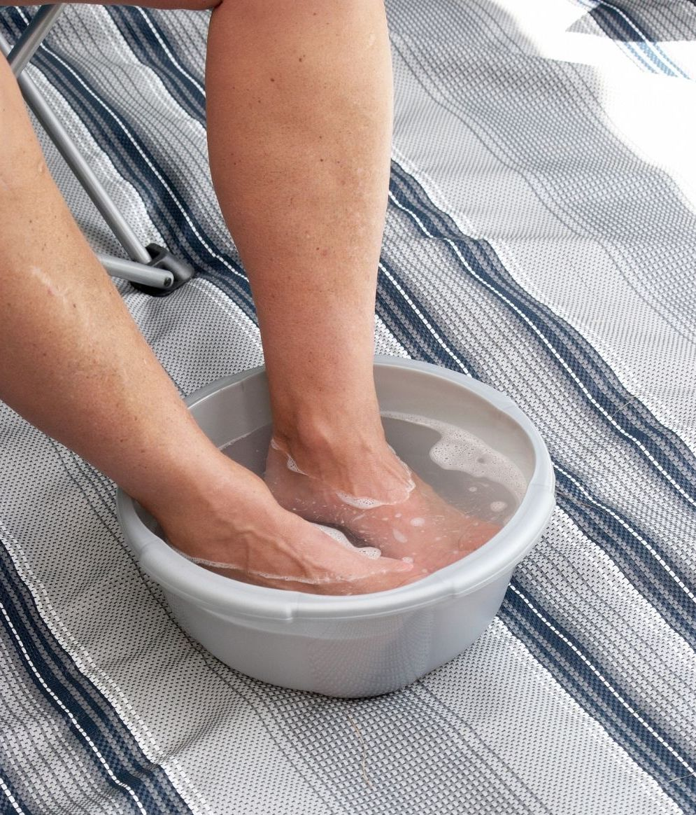 feet soaking in a bowl of water