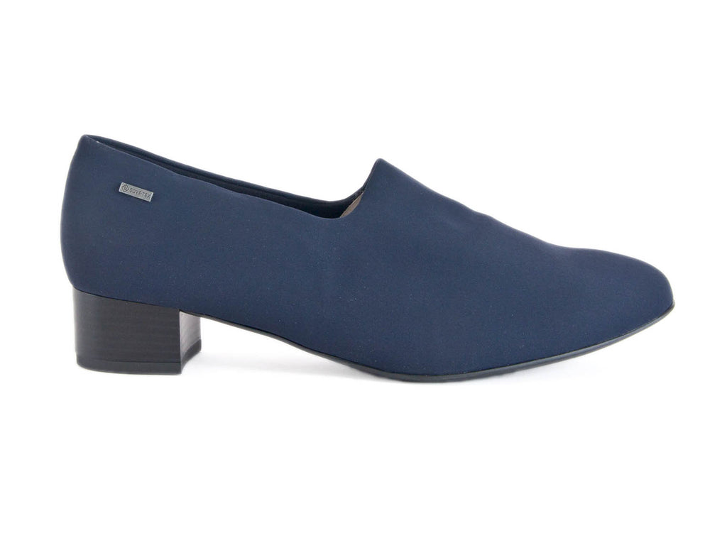side view of navy blue waterproof ladies court shoes with a small heel