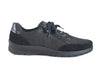Black nubuck and leather lace up trainer style shoe - outside side view