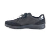 Black nubuck and leather lace up trainer style shoe - instep side view
