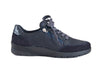 Navy blue nubuck and leather lace up trainer style shoe - outside side view