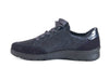 Navy blue nubuck and leather lace up trainer style shoe - instep side view
