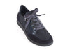 Navy blue nubuck and leather lace up trainer style shoe - overhead view