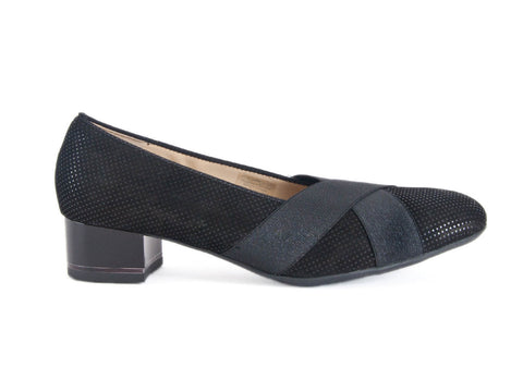 Ara cross over court in nubuck sparkly leather with elastic