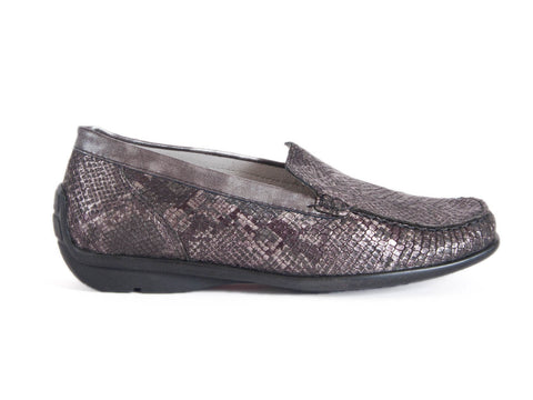 Harriet snake print leather moccasin