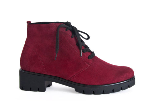 Chunky soled Bordeaux red nubuck ankle boot