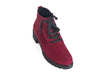 Overhead view of wine red nubuck suede ankle boots with black chunky grippy sole and heel