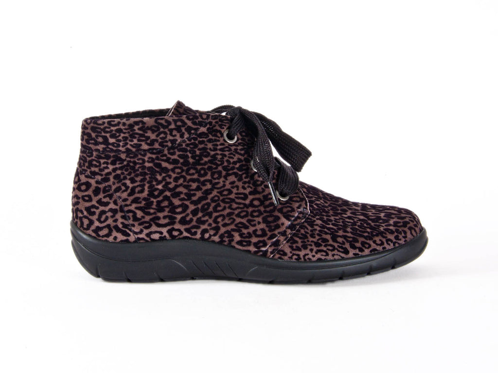 Brown leather ankle boot with dark leopard print design, wide black laces and a flat black sole - side view