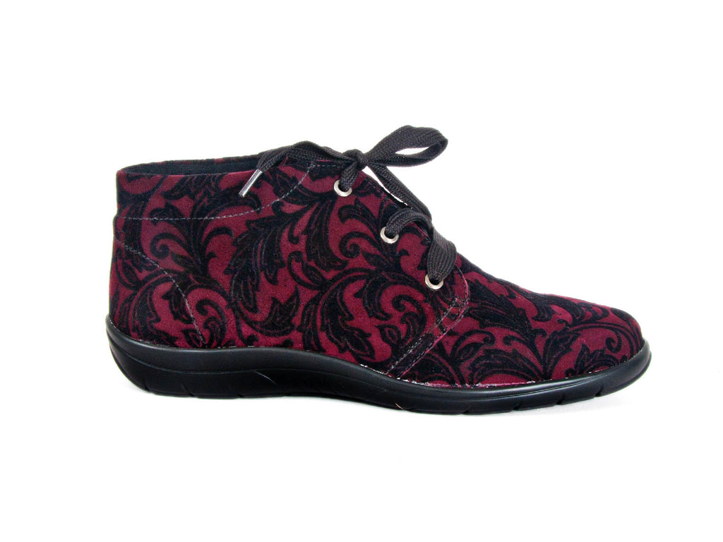 bordo wine red paisley patterned oiled nubuck leather ladies ankle boot with black laces and a flat black sole - side view