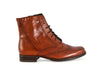 Side view of smart tan leather ladies ankle boot with fine laces, flat heel and elegant punched leather detail
