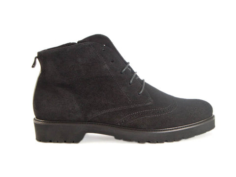 Brogue style black suede ankle boot