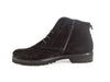 Side view of black suede brogue style ladies ankle boots with flat black heel and sole and skinny laces