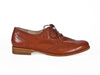 Side view of smart brown leather ladies brogue shoes with fine laces, flat heel and elegant punched leather detail