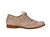 Side view of women's smart brown suede brogue shoes with fine laces, flat heel and elegant punched leather detail. Ellie Dickins Shoes