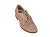 Overview of women's smart brown suede brogue shoes with fine laces, flat heel and elegant punched leather detail. Ellie Dickins Shoes