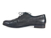 Side view of smart black leather ladies brogue shoes with fine laces, flat heel and elegant punched leather detail