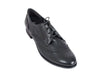 Overhead view of smart black leather ladies brogue shoes with fine laces, flat heel and elegant punched leather detail
