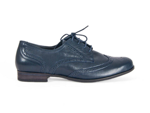 Brogue navy blue leather lace-up